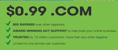 Godaddy 1 cent Domain